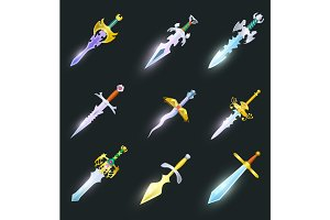 Magic swords isolated vector set
