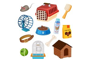 Pet shop icons set in cartoon style