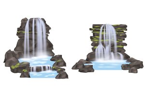 Mountain waterfall isolated vector set