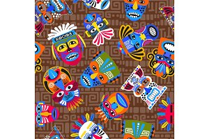 Brown tribal masks seamless pattern