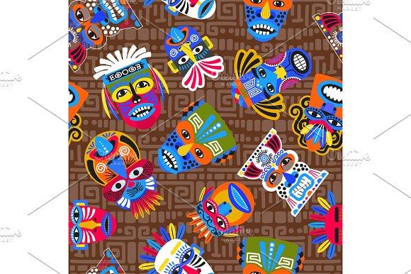 Brown tribal masks seamless pattern