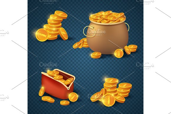 Golden coins in old bronze pot and purse