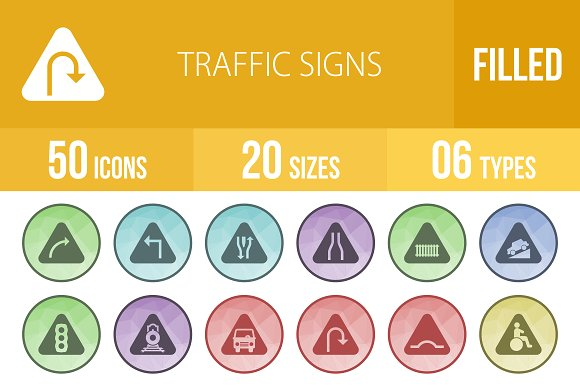 50 Traffic Signs Low Poly B/G Icons