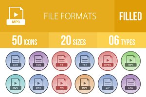 50 File Formats Low Poly B/G Icons