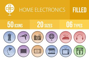 50 Home Electronics Low Poly Icons