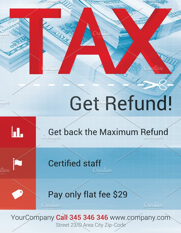 Tax refund flyer template flyer templates creative market fandeluxe Image collections