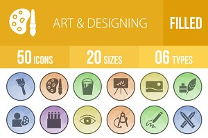 50 Art & Designing Low Poly Icons