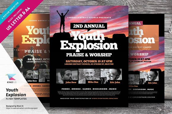 youth explosion flyer templates flyer templates creative market