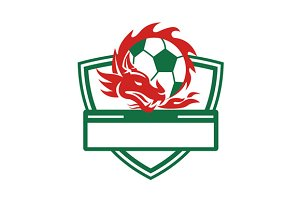 Red Dragon Soccer Ball Crest