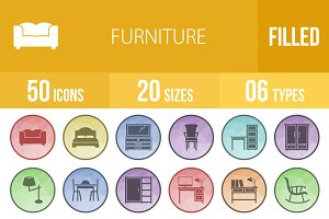 50 Furniture Low Poly B/G Icons