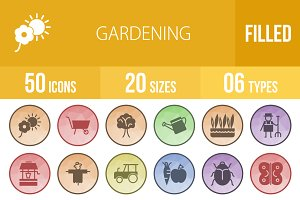 50 Gardening Low Poly B/G Icons