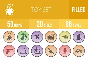 50 Toy Set Low Poly B/G Icons