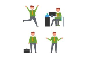 Icons with Office Worker Vector Illustration