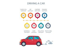 Driving a Car Poster Vector Illustration on White