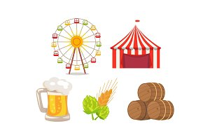 Five Icons at Oktoberfest Vector Illustration