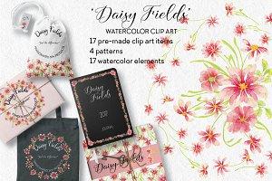 'Daisy Fields': watercolor bundle