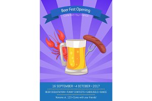 Beer Fest Opening Poster Vector Illustration.