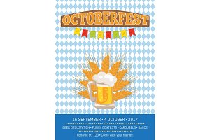 Octoberfest Creative Poster with Information Beer