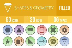 50 Shapes & Geometry Low Poly  Icons