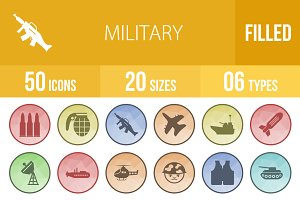 50 Military Low Poly B/G Icons