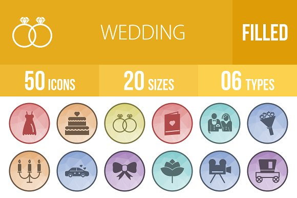 50 Wedding Low Poly B/G Icons