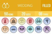 50 Wedding Low Poly B/G Icons