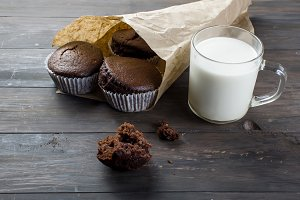 Chocolate muffins and milk