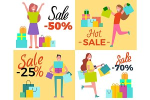 Hot Sale 50% Shopping Set Vector Illustration