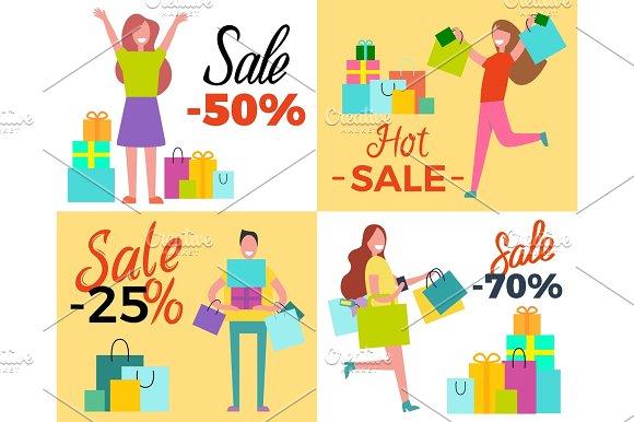 Hot Sale 50% Shopping Set Vector Illustration