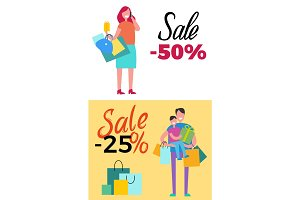 -50% Sale and -25% Sale Vector Illustration