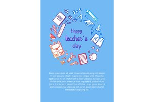 Happy Teachers Day Poster with Icons Silhouettes