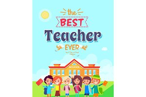 Best Teacher Ever Vector Illustration on Blue