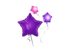 Bunch of star shape balloons vector illustration of glittering airballs