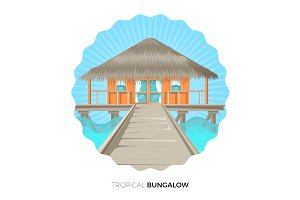 Tropical bungalow cottage house on water vector illustration icon