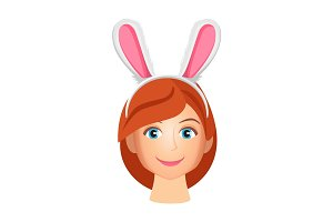 Woman wearing bunny years vector illustration isolated on white