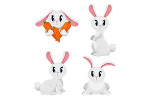 Long haired rabbits set in different positions, holding carrots vector