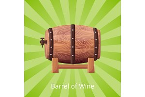 Barrel of Wine Icon Vector Illustration on Green