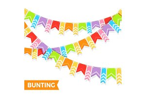 Bunting colorful flags vector illustration isolated on white.