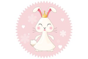 Bunny girl cute princess vector illustration on pink with flowers
