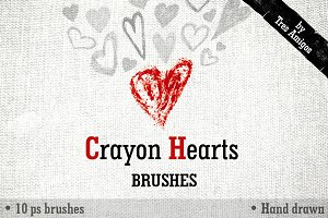 Crayon Hearts PS brushes + 2patterns