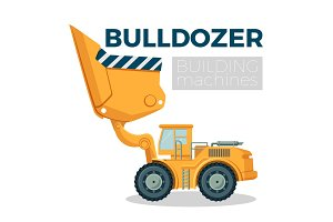 Bulldozer building machine realistic logo design on white. Crawler tractor