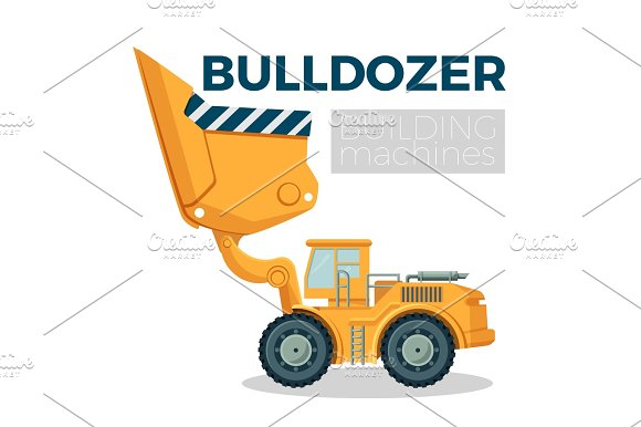 Bulldozer Building Machine Realistic Logo Design On White Crawler Tractor