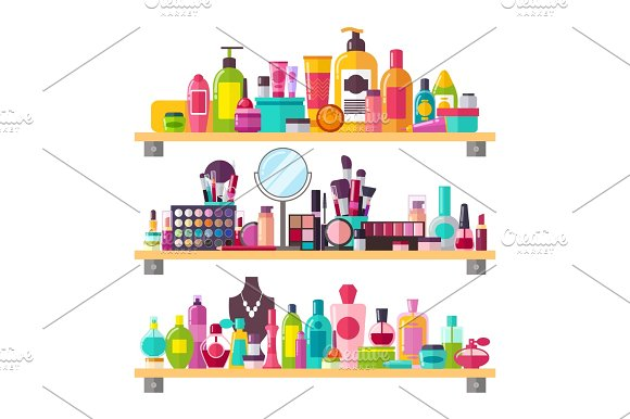 Make Up Things Icons Vector Illustration on White
