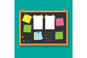 Bulletin board with paper notes, do list on black corkboard