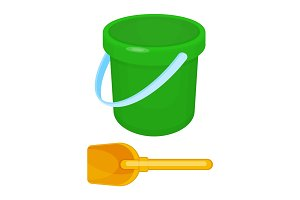 Bucket and spade put together on vector illustration