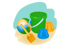 Childrens toys and supplies for games vector illustration