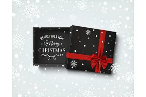 Merry Christmas design. Gift box with on winter background.