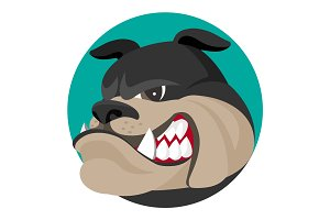Angry bulldog face profile view vector realistic illustration.