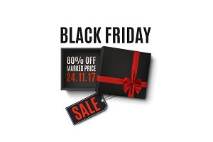 Black Friday sale design. Gift box with red ribbon on white.