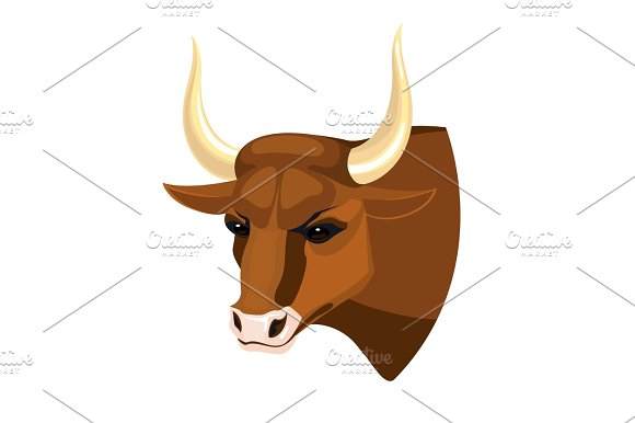 Bull Head Realistic Icon Profile View On Brown Muscular Cow